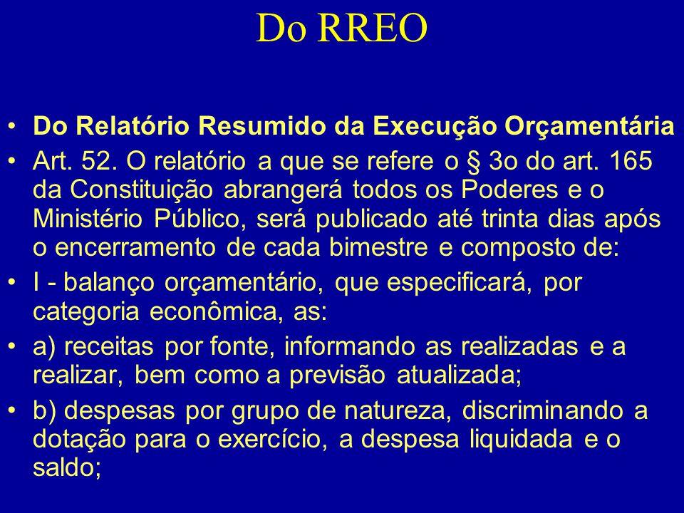 Do RREO •Do Relatório Resumido da Execução Orçamentária •Art. 52. O relatório a que se refere o § 3o do art. 165 da Constituição abrangerá todos os Po