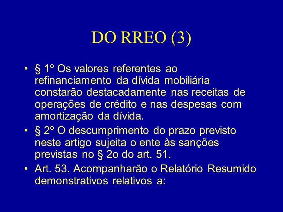 DO RREO (3) •§ 1º Os valores referentes ao refinanciamento da dívida mobiliária constarão destacadamente nas receitas de operações de crédito e nas de