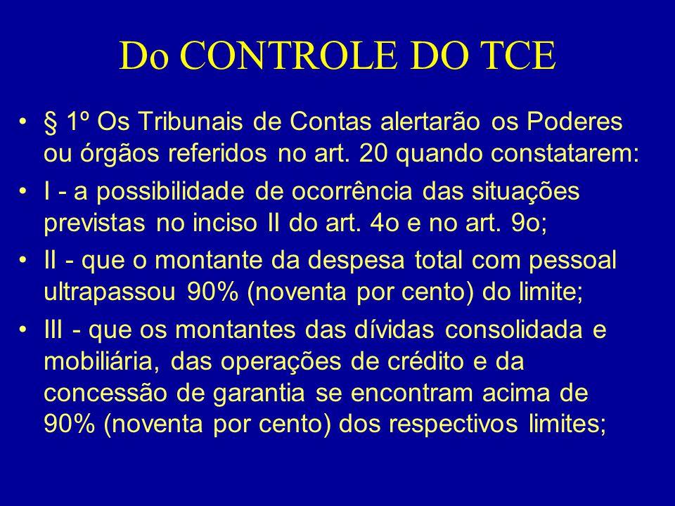 Do CONTROLE DO TCE •§ 1º Os Tribunais de Contas alertarão os Poderes ou órgãos referidos no art. 20 quando constatarem: •I - a possibilidade de ocorrê