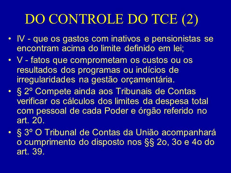 DO CONTROLE DO TCE (2) •IV - que os gastos com inativos e pensionistas se encontram acima do limite definido em lei; •V - fatos que comprometam os cus