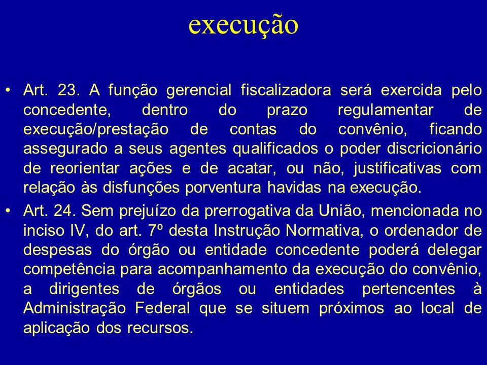 execução •Art. 23. A função gerencial fiscalizadora será exercida pelo concedente, dentro do prazo regulamentar de execução/prestação de contas do con