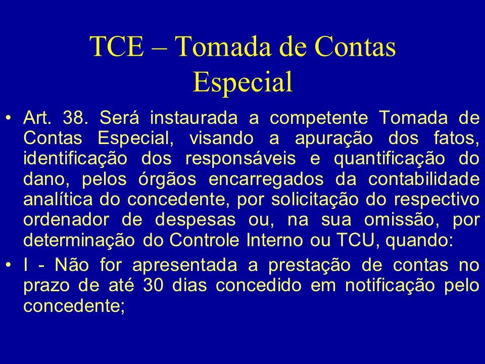 TCE – Tomada de Contas Especial •Art. 38. Será instaurada a competente Tomada de Contas Especial, visando a apuração dos fatos, identificação dos resp