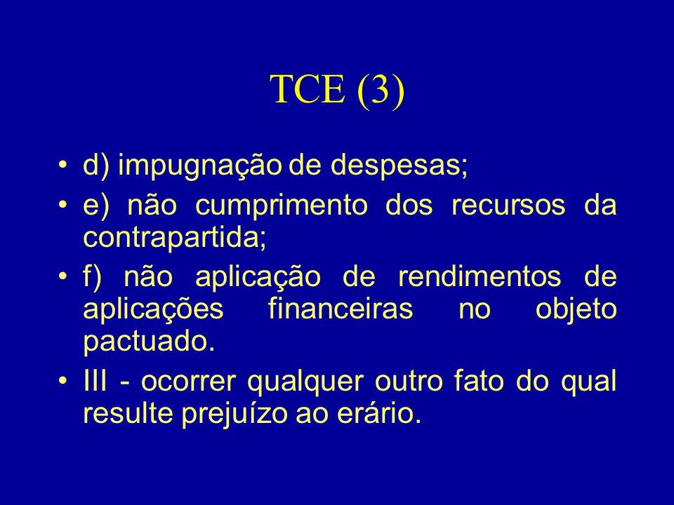 TCE (3) •d) impugnação de despesas; •e) não cumprimento dos recursos da contrapartida; •f) não aplicação de rendimentos de aplicações financeiras no o