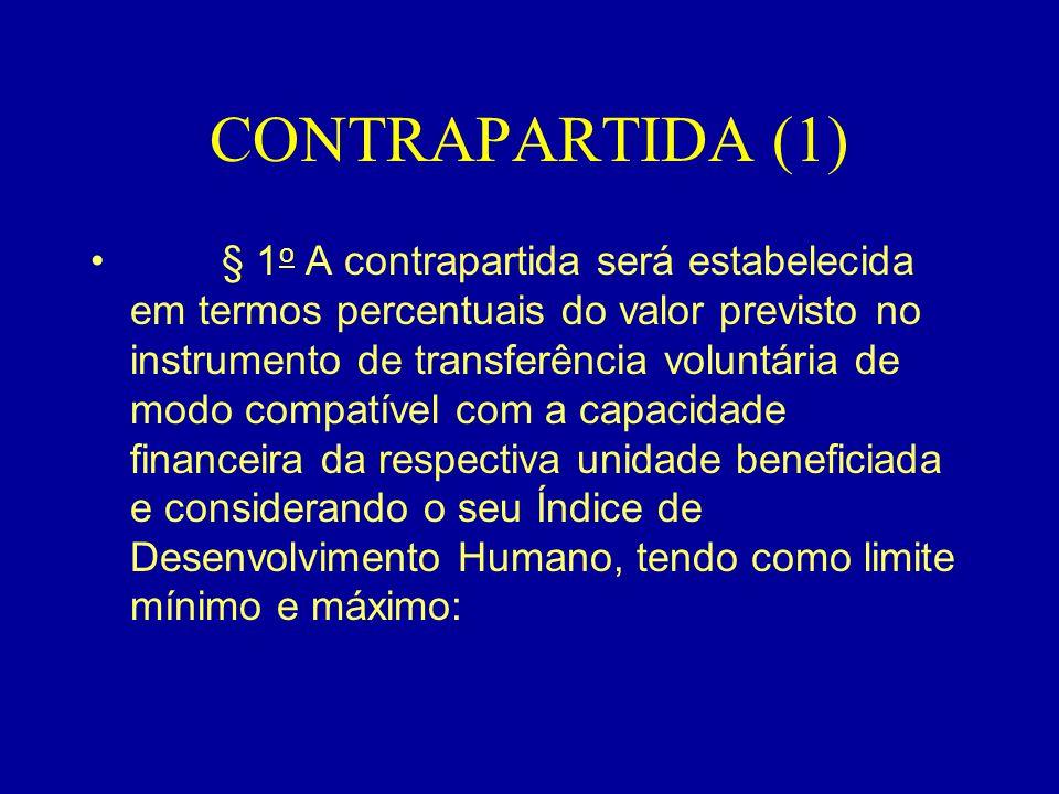 CONTRAPARTIDA (2) •I - no caso dos Municípios: • a) 3 (três) e 8 (oito) por cento, para Municípios com até 25.000 (vinte e cinco mil) habitantes; • b) 5 (cinco) e 10 (dez) por cento, para os demais Municípios localizados nas áreas da Agência de Desenvolvimento do Nordeste - Adene e da Agência de Desenvolvimento da Amazônia - ADA e na Região Centro-Oeste; • c) 20 (vinte) e 40 (quarenta) por cento, para os demais;