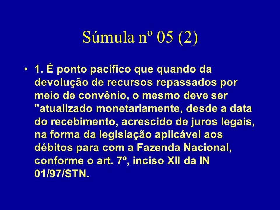 Súmula nº 05 (2) •1. É ponto pacífico que quando da devolução de recursos repassados por meio de convênio, o mesmo deve ser