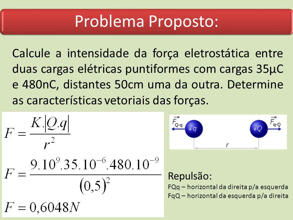 Problema Proposto: Calcule a intensidade da força eletrostática entre duas cargas elétricas puntiformes com cargas 35µC e 480nC, distantes 50cm uma da