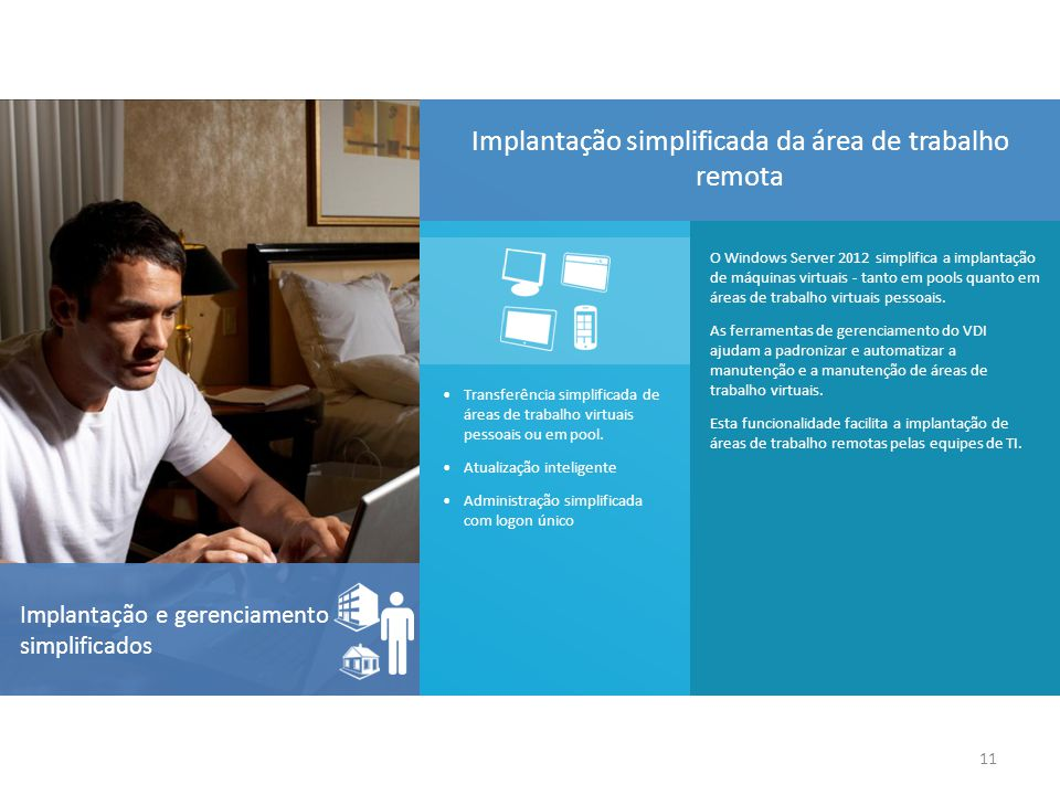 O Windows Server 2012 simplifica a implantação de máquinas virtuais - tanto em pools quanto em áreas de trabalho virtuais pessoais. As ferramentas de