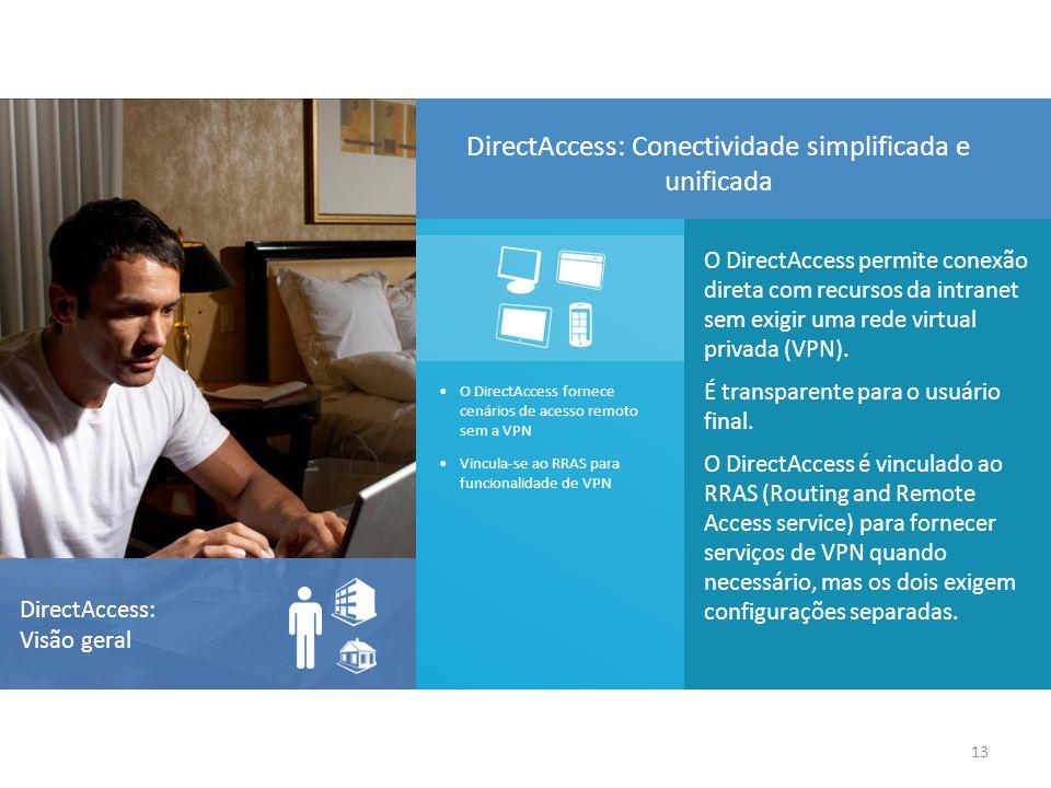 O DirectAccess permite conexão direta com recursos da intranet sem exigir uma rede virtual privada (VPN). É transparente para o usuário final. O Direc