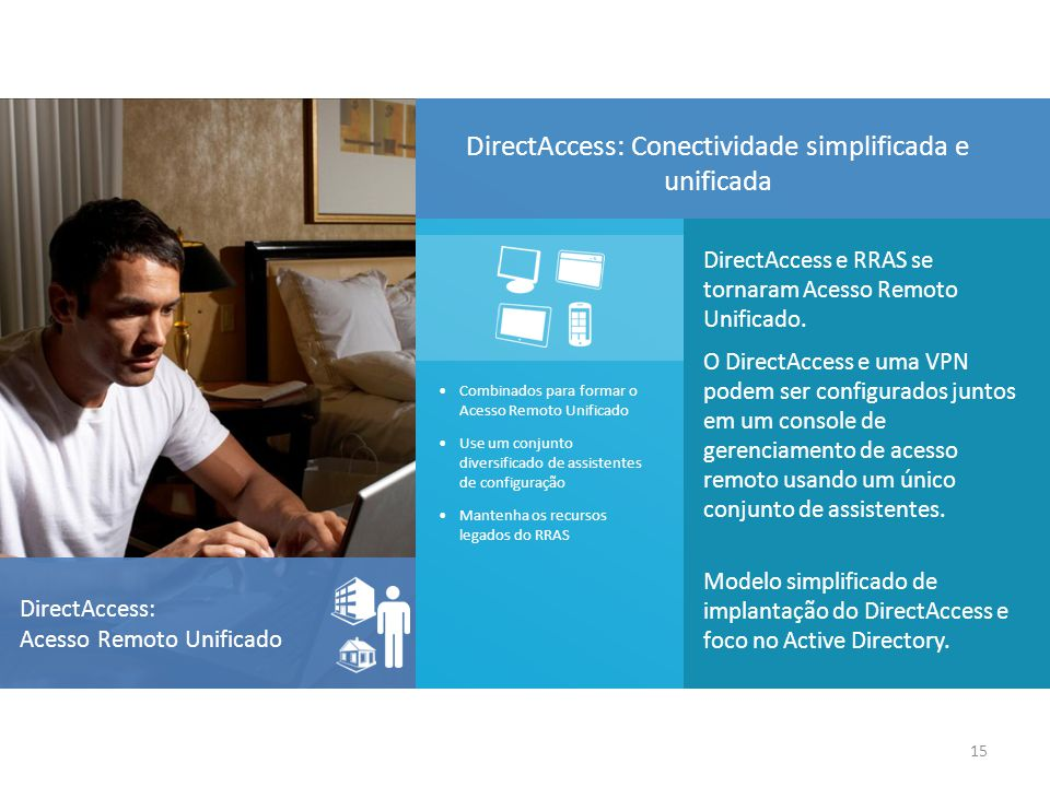 DirectAccess e RRAS se tornaram Acesso Remoto Unificado. O DirectAccess e uma VPN podem ser configurados juntos em um console de gerenciamento de aces