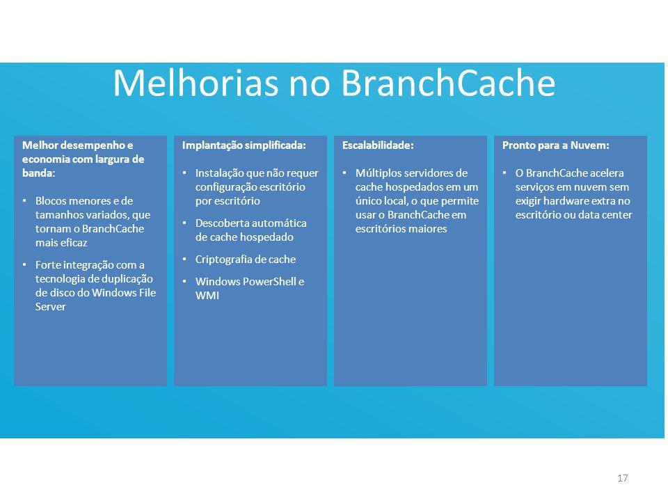 Melhorias no BranchCache Melhor desempenho e economia com largura de banda: • Blocos menores e de tamanhos variados, que tornam o BranchCache mais eficaz • Forte integração com a tecnologia de duplicação de disco do Windows File Server Implantação simplificada: • Instalação que não requer configuração escritório por escritório • Descoberta automática de cache hospedado • Criptografia de cache • Windows PowerShell e WMI 17 Escalabilidade: • Múltiplos servidores de cache hospedados em um único local, o que permite usar o BranchCache em escritórios maiores Pronto para a Nuvem: • O BranchCache acelera serviços em nuvem sem exigir hardware extra no escritório ou data center