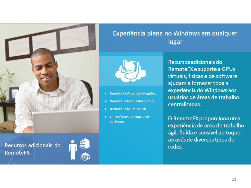 Recursos adicionais do RemoteFX e suporte a GPUs virtuais, físicas e de software ajudam a fornecer toda a experiência do Windows aos usuários de áreas de trabalho centralizadas.