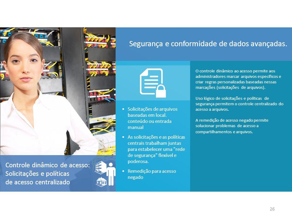 O controle dinâmico ao acesso permite aos administradores marcar arquivos específicos e criar regras personalizadas baseadas nessas marcações (solicit
