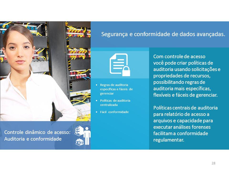 Com controle de acesso você pode criar políticas de auditoria usando solicitações e propriedades de recursos, possibilitando regras de auditoria mais específicas, flexíveis e fáceis de gerenciar.