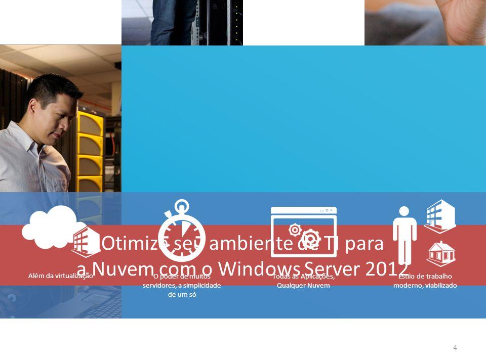 Além da virtualização 4 Otimize seu ambiente de TI para a Nuvem com o Windows Server 2012 Estilo de trabalho moderno, viabilizado Todas as Aplicações,