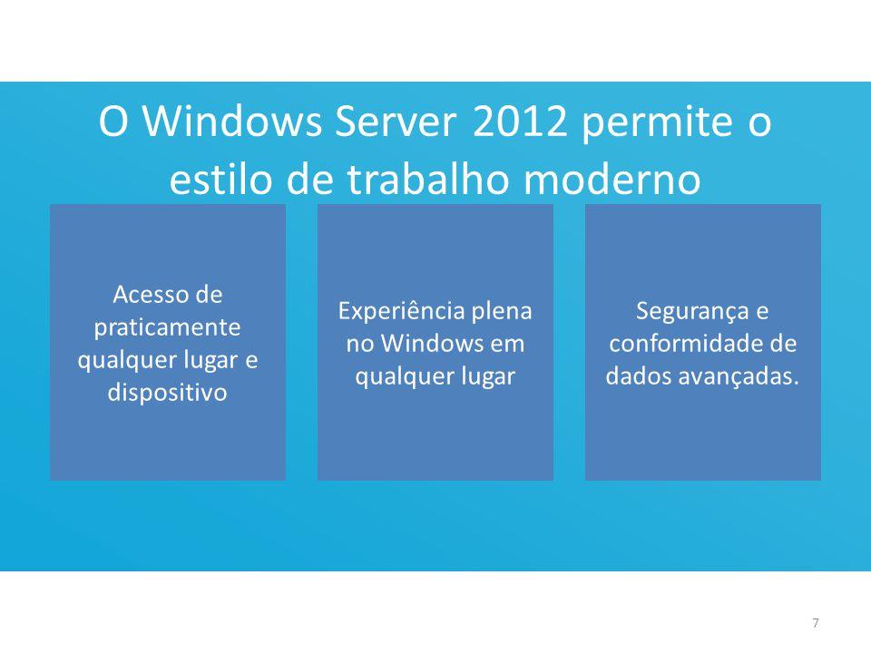 O Windows Server 2012 permite o estilo de trabalho moderno Acesso de praticamente qualquer lugar e dispositivo Experiência plena no Windows em qualquer lugar Segurança e conformidade de dados avançadas.