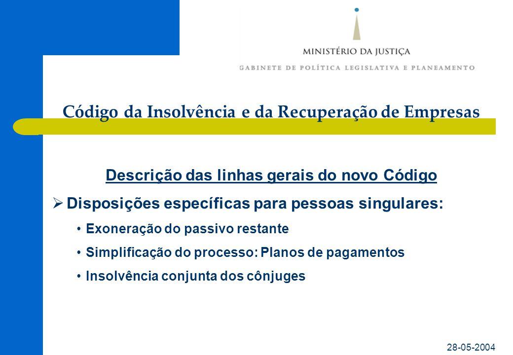 Código da Insolvência e da Recuperação de Empresas 28-05-2004 Evolução do projecto