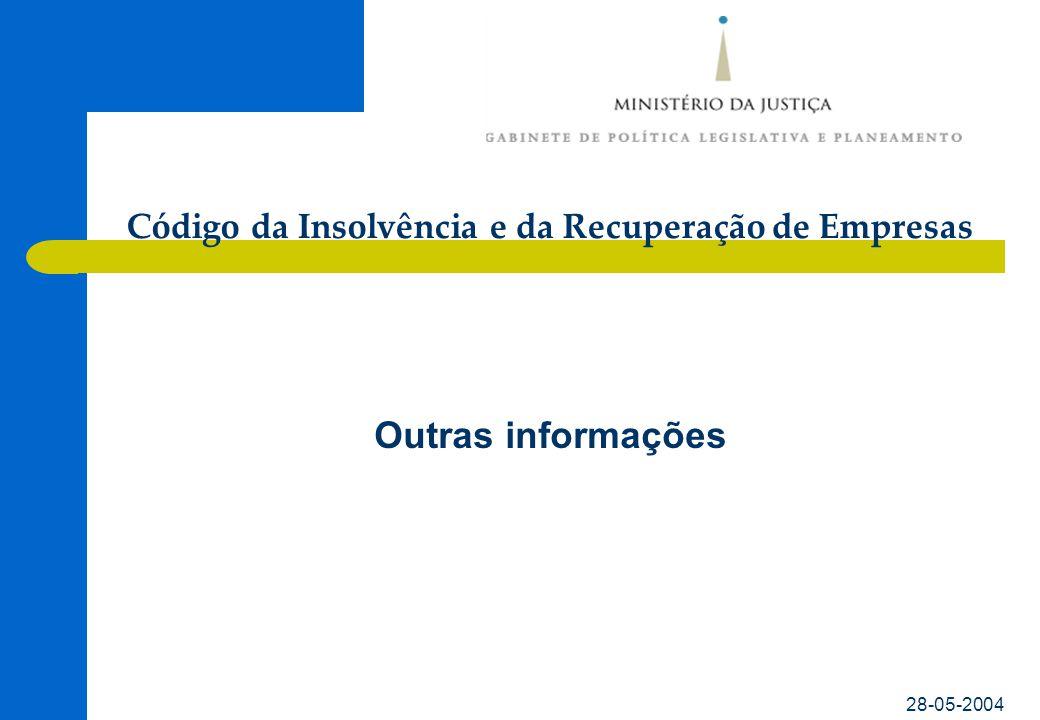 Código da Insolvência e da Recuperação de Empresas 28-05-2004 Outras informações •www.gplp.mj.pt/home/cire.htmwww.gplp.mj.pt/home/cire.htm •www3.parlamento.pt/PLC/Iniciativa.aspx?ID_Ini=19606www3.parlamento.pt/PLC/Iniciativa.aspx?ID_Ini=19606 •www.portugal.gov.pt/Portal/PT/Governos/Governos_Constitucionai s/GC15/Ministerios/MJ/Comunicacao/Programas_e_Dossiers/20030 110_MJ_Doss_Cod_Insolvencia.htmwww.portugal.gov.pt/Portal/PT/Governos/Governos_Constitucionai s/GC15/Ministerios/MJ/Comunicacao/Programas_e_Dossiers/20030 110_MJ_Doss_Cod_Insolvencia.htm •www.uncitral.org/english/workinggroups/wg_il/www.uncitral.org/english/workinggroups/wg_il/ •www.imf.org/external/pubs/ft/orderly/www.imf.org/external/pubs/ft/orderly/