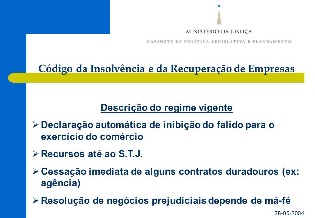 Código da Insolvência e da Recuperação de Empresas 28-05-2004 Diagnóstico da situação actual