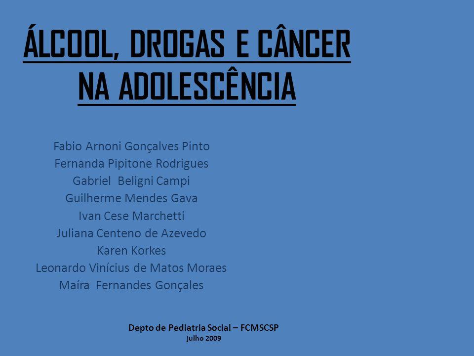 Álcool, drogas e câncer na adolescência Depto de Pediatria Social - FCMSCSP Julho/2009 Tabagismo – Epidemiologia: Brasil 32% da população é fumante Cerca de 200 mil mortes por ano (OPAS, 2002) A região Sul do país é a que apresenta maior proporção de dependentes :42% dos habitantes Nordeste são 31%.