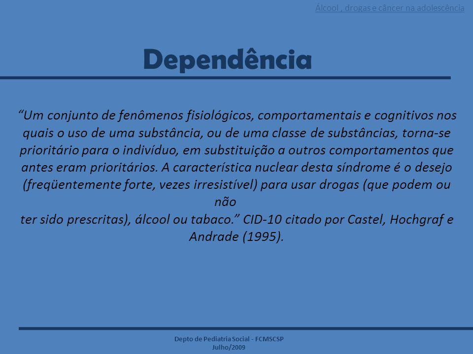 """Álcool, drogas e câncer na adolescência Depto de Pediatria Social - FCMSCSP Julho/2009 Dependência """"Um conjunto de fenômenos fisiológicos, comportamen"""