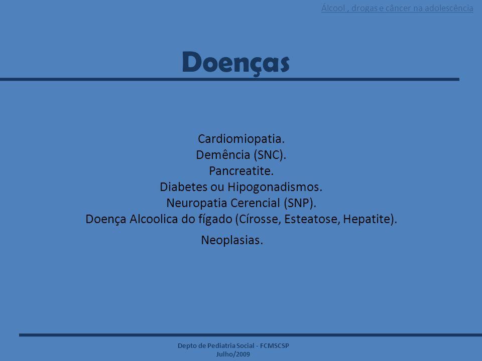 Álcool, drogas e câncer na adolescência Depto de Pediatria Social - FCMSCSP Julho/2009 Cardiomiopatia. Demência (SNC). Pancreatite. Diabetes ou Hipogo