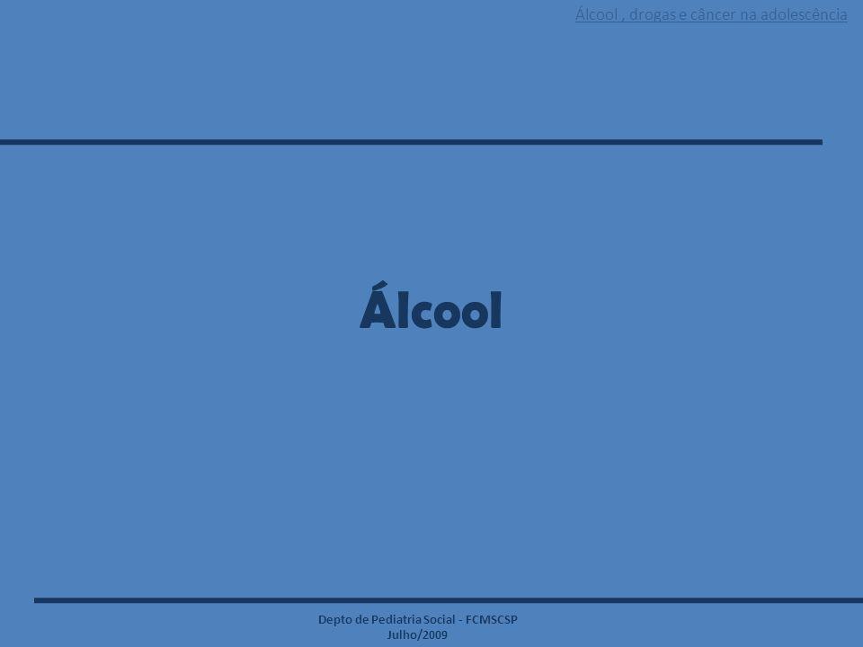 Álcool, drogas e câncer na adolescência Depto de Pediatria Social - FCMSCSP Julho/2009 EFEITOS PSICOLÓGICOS * Comportamento agressivo (V) * Aumento/diminuição da libido * Flutuações repentinas do humor (T) * Episódios maníacos e/ou depressivos (T) * Dependência (T) * Psicose (T) * Ideação/tentativa de suicídio (T) * Depressão quando da retirada (T) * Ansiedade (T) * Euforia (T) * Irritabilidade (T)