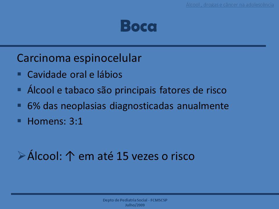 Álcool, drogas e câncer na adolescência Depto de Pediatria Social - FCMSCSP Julho/2009 Boca Carcinoma espinocelular  Cavidade oral e lábios  Álcool