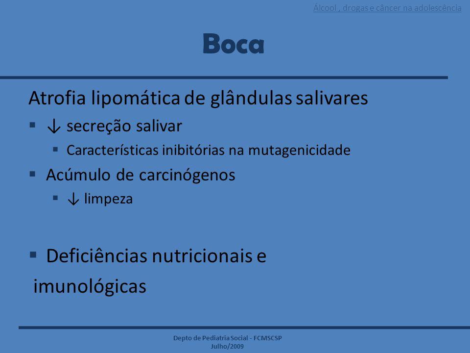 Álcool, drogas e câncer na adolescência Depto de Pediatria Social - FCMSCSP Julho/2009 Boca Atrofia lipomática de glândulas salivares  ↓ secreção sal