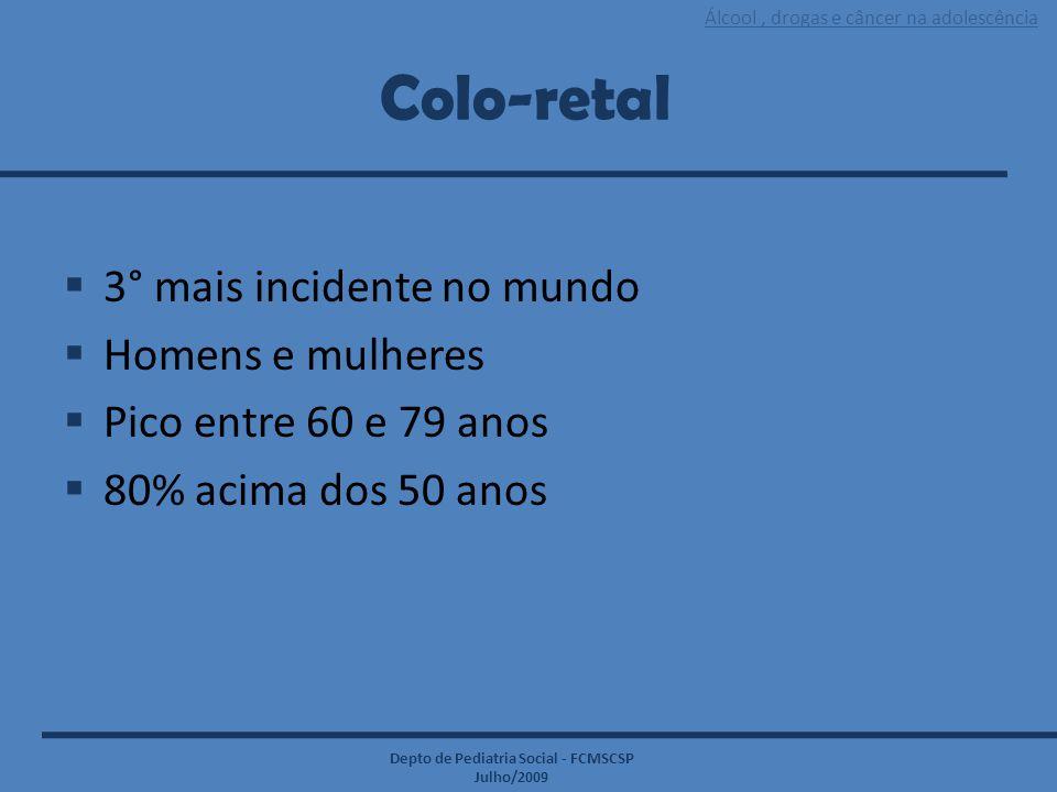 Álcool, drogas e câncer na adolescência Depto de Pediatria Social - FCMSCSP Julho/2009 Colo-retal  3° mais incidente no mundo  Homens e mulheres  P