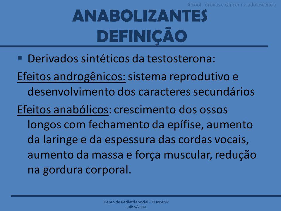 Álcool, drogas e câncer na adolescência Depto de Pediatria Social - FCMSCSP Julho/2009 ANABOLIZANTES DEFINIÇÃO  Derivados sintéticos da testosterona: