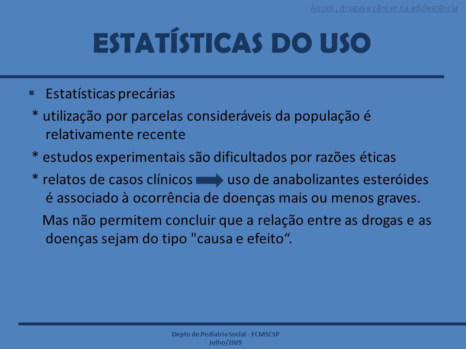 Álcool, drogas e câncer na adolescência Depto de Pediatria Social - FCMSCSP Julho/2009 ESTATÍSTICAS DO USO  Estatísticas precárias * utilização por p