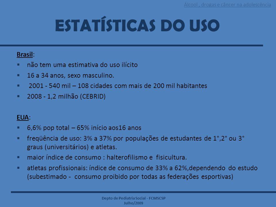 Álcool, drogas e câncer na adolescência Depto de Pediatria Social - FCMSCSP Julho/2009 ESTATÍSTICAS DO USO Brasil:  não tem uma estimativa do uso ilí
