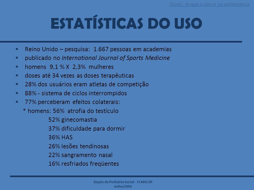 Álcool, drogas e câncer na adolescência Depto de Pediatria Social - FCMSCSP Julho/2009 ESTATÍSTICAS DO USO  Reino Unido – pesquisa: 1.667 pessoas em
