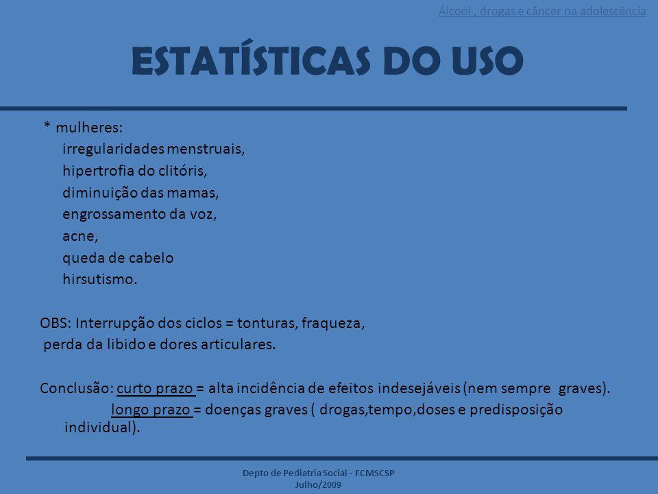 Álcool, drogas e câncer na adolescência Depto de Pediatria Social - FCMSCSP Julho/2009 ESTATÍSTICAS DO USO * mulheres: irregularidades menstruais, hip