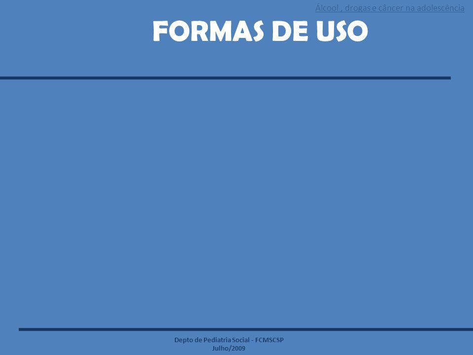 Álcool, drogas e câncer na adolescência Depto de Pediatria Social - FCMSCSP Julho/2009 FORMAS DE USO