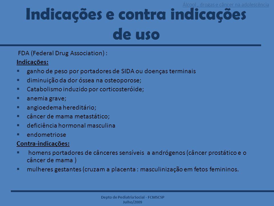 Álcool, drogas e câncer na adolescência Depto de Pediatria Social - FCMSCSP Julho/2009 Indicações e contra indicações de uso FDA (Federal Drug Associa