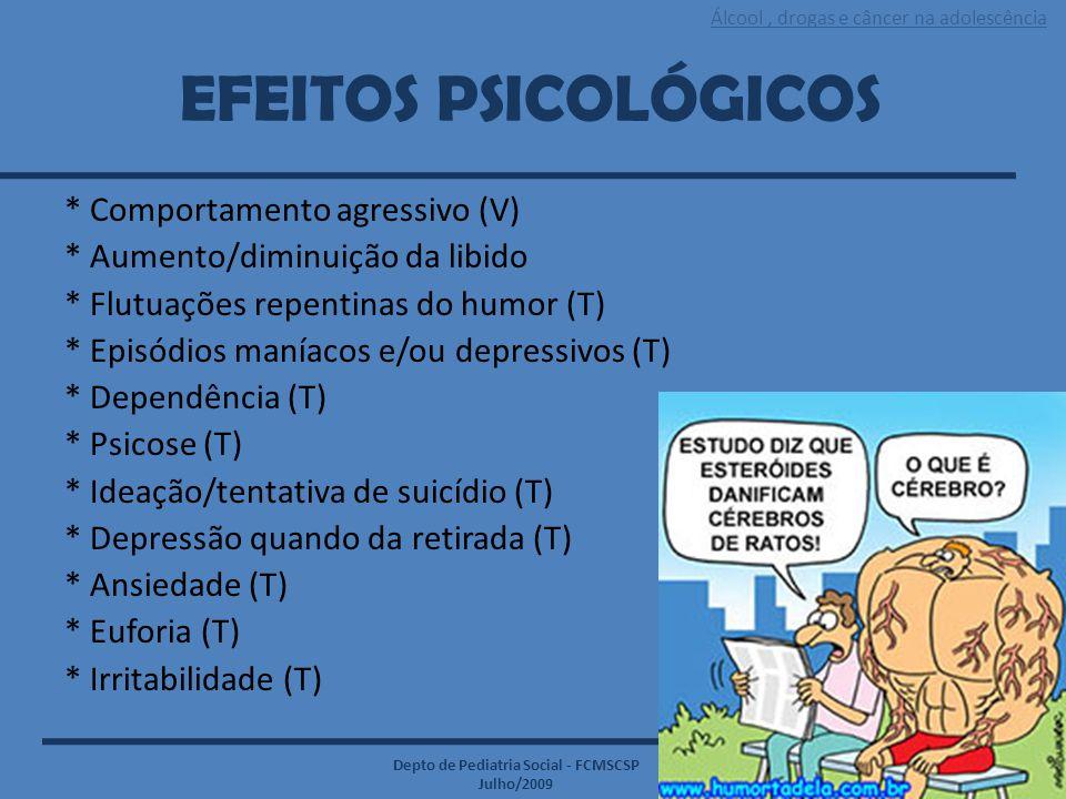 Álcool, drogas e câncer na adolescência Depto de Pediatria Social - FCMSCSP Julho/2009 EFEITOS PSICOLÓGICOS * Comportamento agressivo (V) * Aumento/di