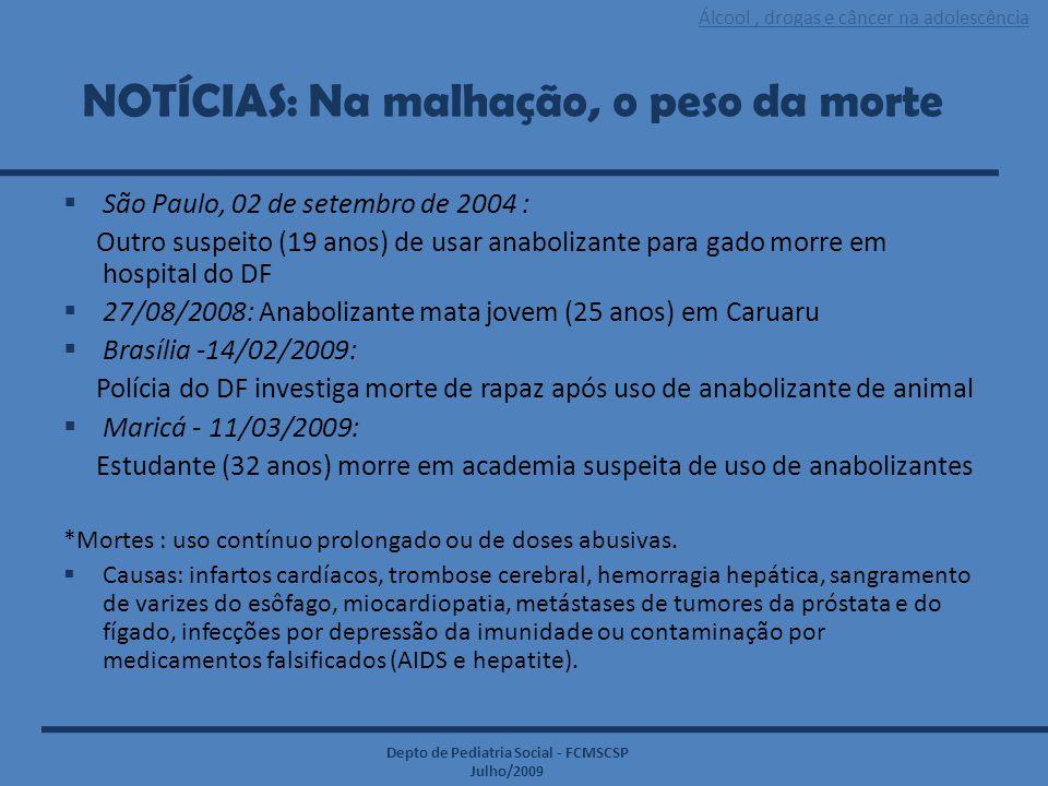 Álcool, drogas e câncer na adolescência Depto de Pediatria Social - FCMSCSP Julho/2009 NOTÍCIAS: Na malhação, o peso da morte  São Paulo, 02 de setem