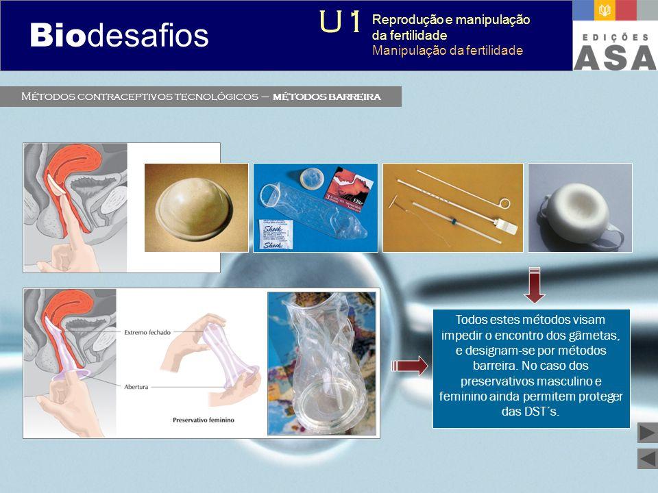 Biodesafios 12 Métodos contraceptivos tecnológicos – métodos barreira Todos estes métodos visam impedir o encontro dos gâmetas, e designam-se por méto
