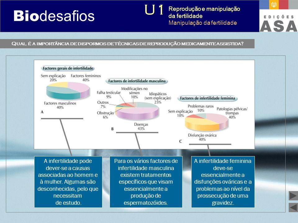 Biodesafios 12 Qual é a importância de dispormos de técnicas de reprodução medicamente assistida? A infertilidade pode dever-se a causas associadas ao