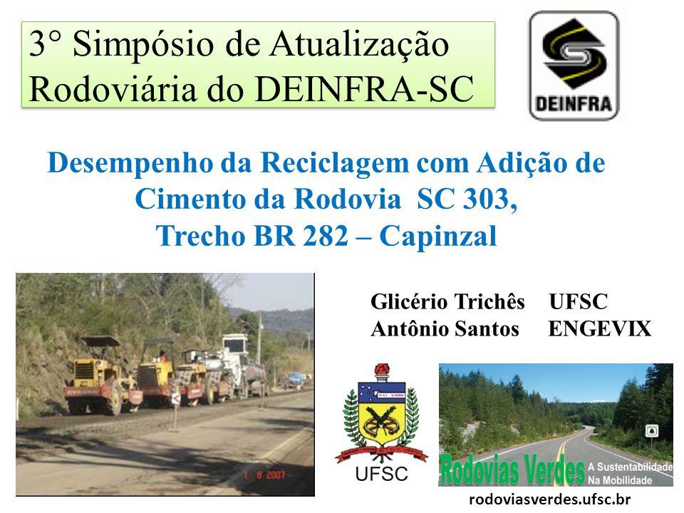 3° Simpósio de Atualização Rodoviária do DEINFRA-SC Desempenho da Reciclagem com Adição de Cimento da Rodovia SC 303, Trecho BR 282 – Capinzal Glicéri