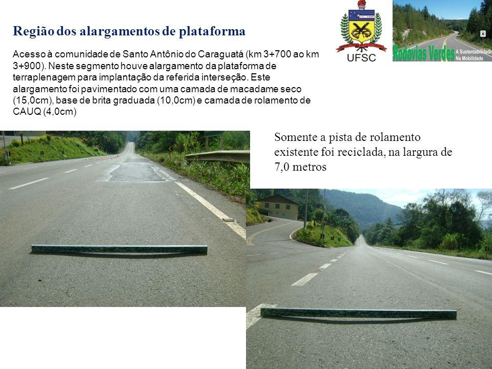 Região dos alargamentos de plataforma Acesso à comunidade de Santo Antônio do Caraguatá (km 3+700 ao km 3+900). Neste segmento houve alargamento da pl