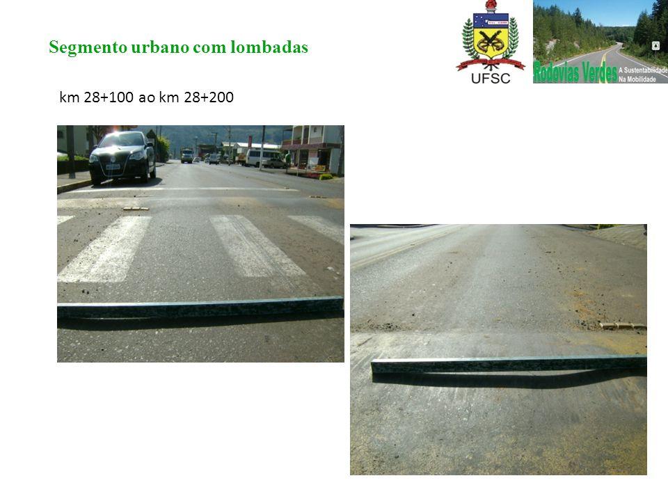 km 28+100 ao km 28+200 Segmento urbano com lombadas