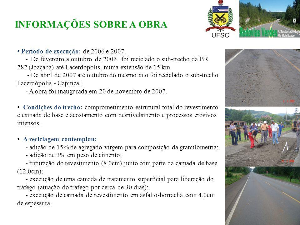 • Período de execução: de 2006 e 2007. - De fevereiro a outubro de 2006, foi reciclado o sub-trecho da BR 282 (Joaçaba) até Lacerdópolis, numa extensã