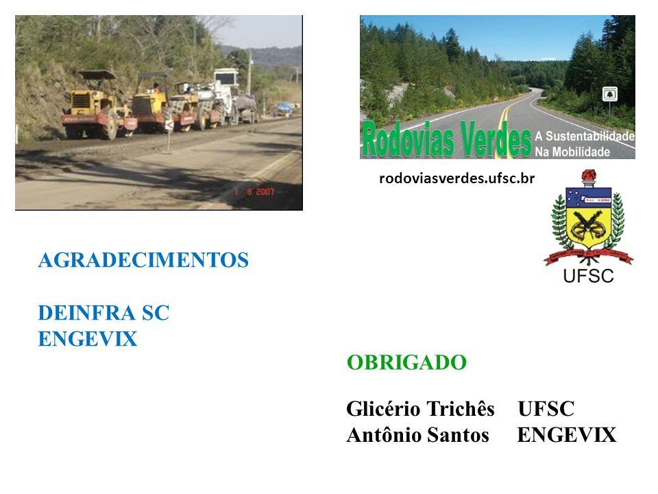 AGRADECIMENTOS DEINFRA SC ENGEVIX Glicério Trichês UFSC Antônio Santos ENGEVIX rodoviasverdes.ufsc.br OBRIGADO