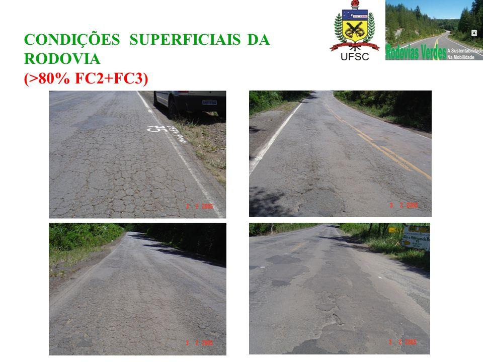 CONDIÇÕES SUPERFICIAIS DA RODOVIA (>80% FC2+FC3)