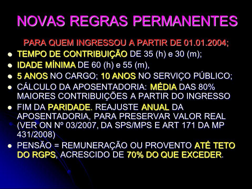 NOVAS REGRAS PERMANENTES PARA QUEM INGRESSOU A PARTIR DE 01.01.2004;  TEMPO DE CONTRIBUIÇÃO DE 35 (h) e 30 (m);  IDADE MÍNIMA DE 60 (h) e 55 (m),  5 ANOS NO CARGO; 10 ANOS NO SERVIÇO PÚBLICO;  CÁLCULO DA APOSENTADORIA: MÉDIA DAS 80% MAIORES CONTRIBUIÇÕES A PARTIR DO INGRESSO  FIM DA PARIDADE.