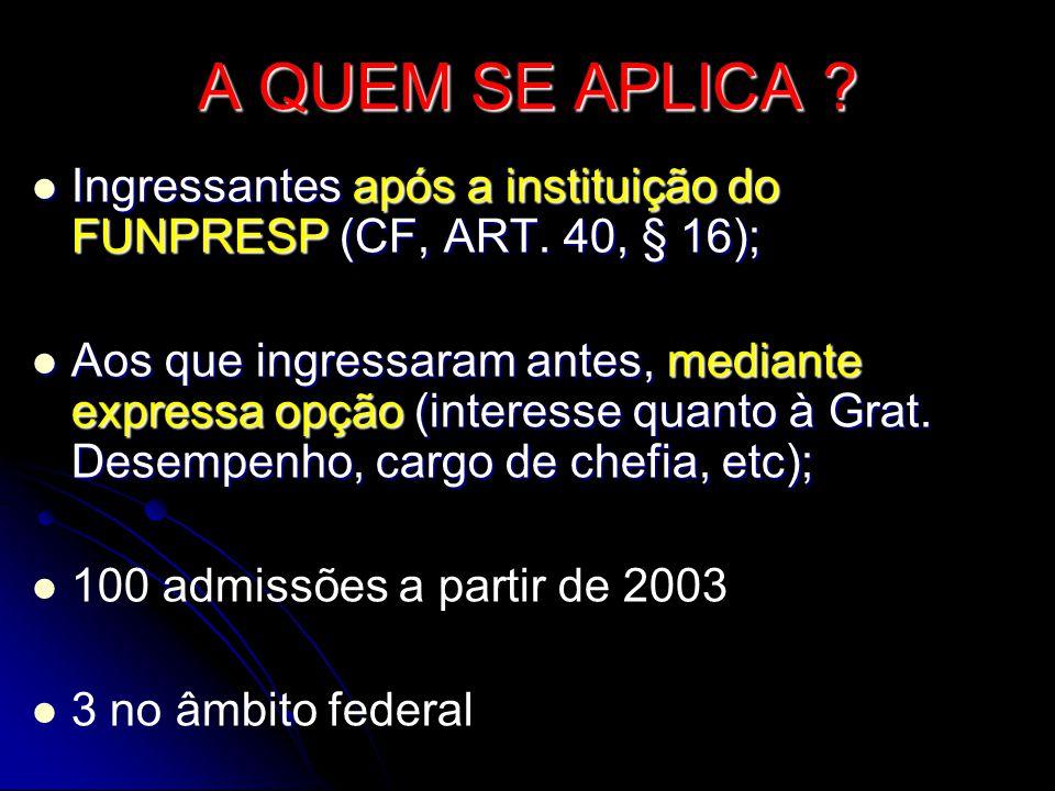 A QUEM SE APLICA .IIIIngressantes após a instituição do FUNPRESP (CF, ART.