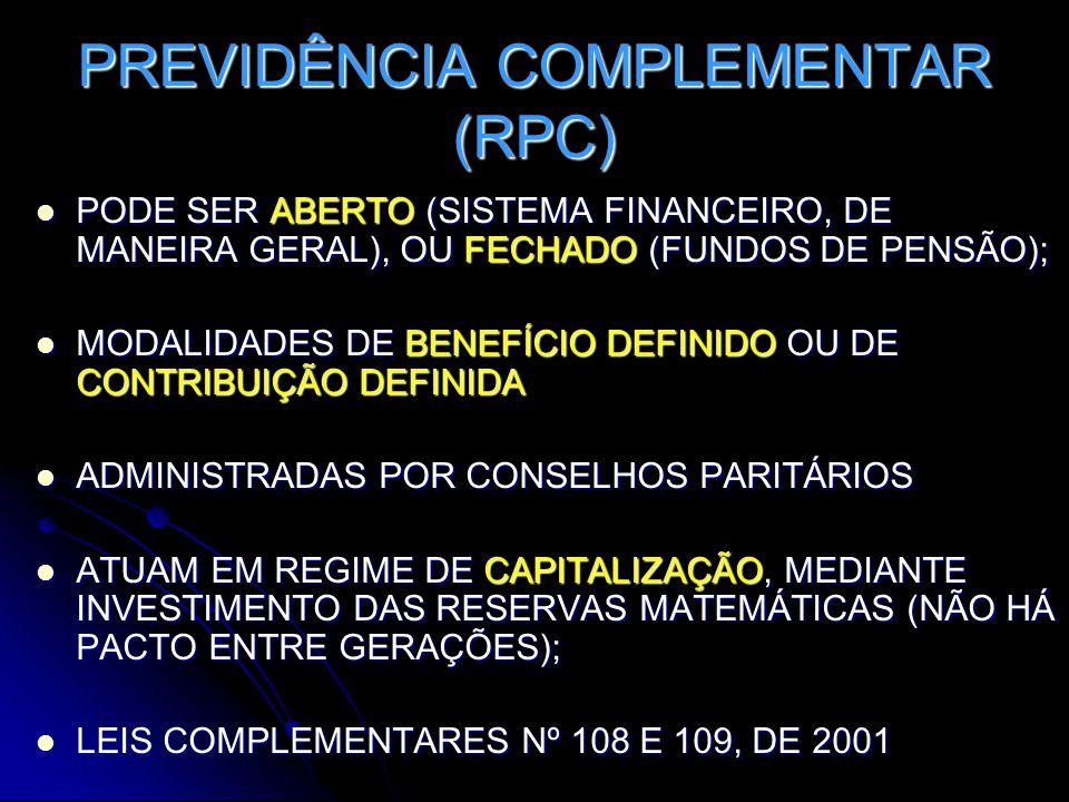 PREVIDÊNCIA COMPLEMENTAR (RPC)  PODE SER ABERTO (SISTEMA FINANCEIRO, DE MANEIRA GERAL), OU FECHADO (FUNDOS DE PENSÃO);  MODALIDADES DE BENEFÍCIO DEFINIDO OU DE CONTRIBUIÇÃO DEFINIDA  ADMINISTRADAS POR CONSELHOS PARITÁRIOS  ATUAM EM REGIME DE CAPITALIZAÇÃO, MEDIANTE INVESTIMENTO DAS RESERVAS MATEMÁTICAS (NÃO HÁ PACTO ENTRE GERAÇÕES);  LEIS COMPLEMENTARES Nº 108 E 109, DE 2001