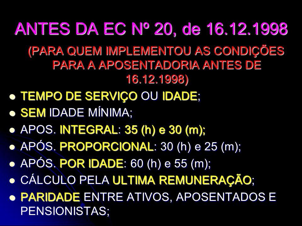 ANTES DA EC Nº 20, de 16.12.1998 (PARA QUEM IMPLEMENTOU AS CONDIÇÕES PARA A APOSENTADORIA ANTES DE 16.12.1998) TTTTEMPO DE SERVIÇO OU IDADE; SSSSEM IDADE MÍNIMA; AAAAPOS.
